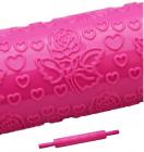 Скалка Empire Розы в сердцах для мастики 250мм