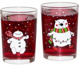 """Набор 2 новогодних стакана """"Мишка и Снеговик"""" 290мл, стекло"""