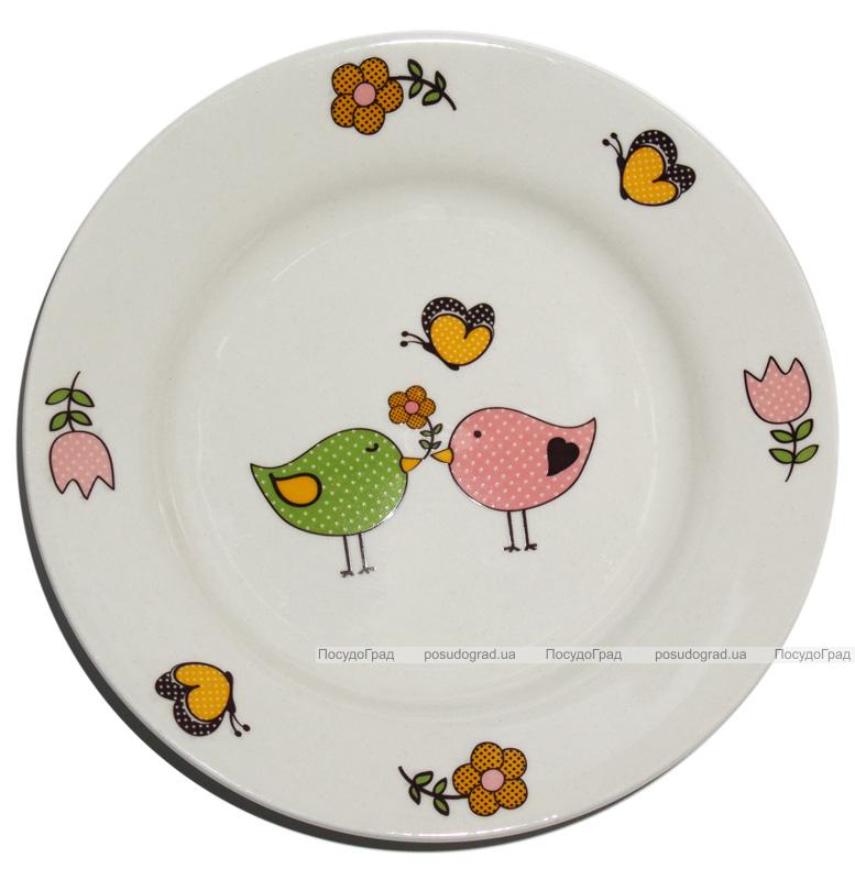 """Детская тарелка """"Две птички"""" Ø17.5см из облегченной керамики"""