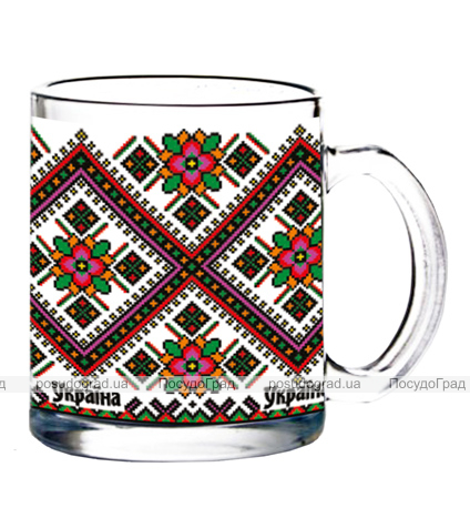 Кружка Украинская, стеклянная 300мл