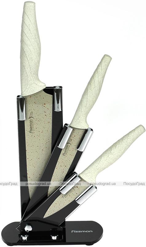 Набор 3 кухонных ножа Fissman Yumi на акриловой подставке