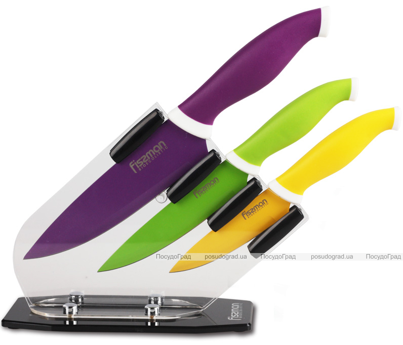 Набор Fissman Capoeira 3 кухонных ножа на акриловой подставке