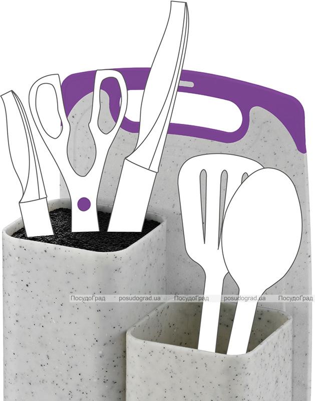 Підставка-колода Fissman White Marble для ножів 22х14х34.5см, подвійна з обробною дошкою