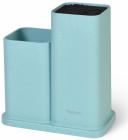 Підставка-колода Fissman Blue для кухонних ножів і ножиць 20х10х23см подвійна