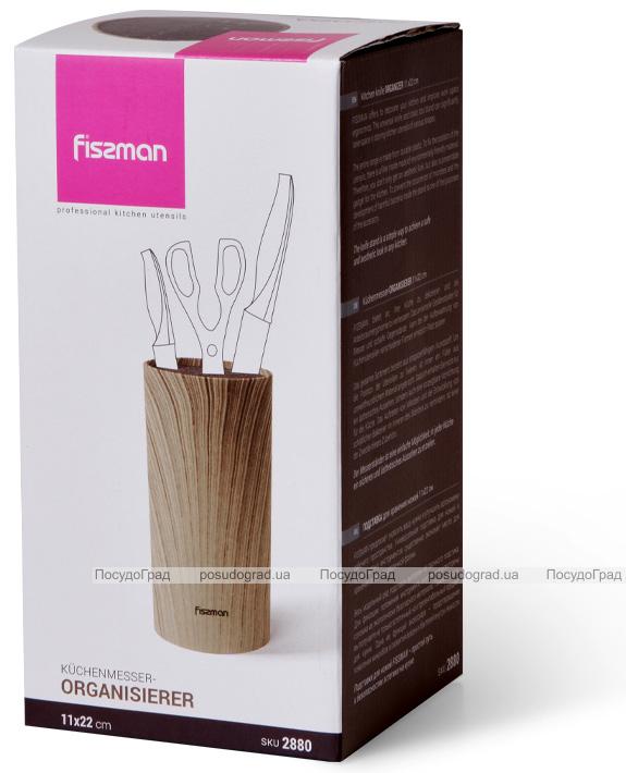 Підставка-колода Fissman Wood для кухонних ножів і ножиць 22х11см