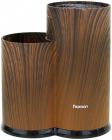 Підставка-колода Fissman Dark Wood для кухонних ножів і ножиць 23х11х11см, подвійна