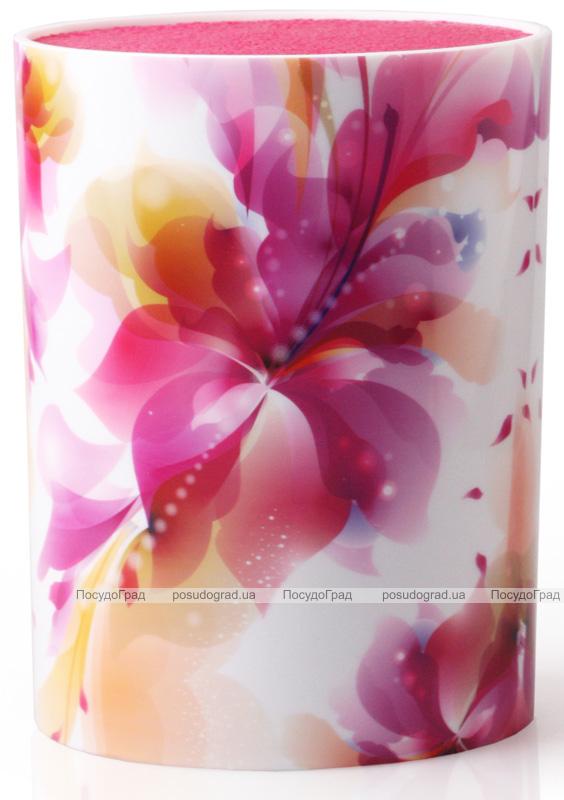 Подставка-колода Fissman Flower для кухонных ножей и ножниц 16х7х22см овальная