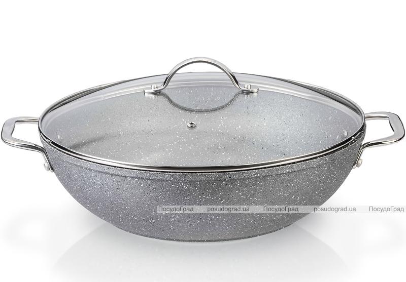 Сковорода-вок Fissman MOON STONE Ø28см со стеклянной крышкой