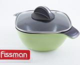 Кастрюля Fissman DIABLO 2.4л со стеклянной крышкой