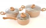 Набір кухонного посуду Fissman LATTE 2 каструлі і ківш з кришками