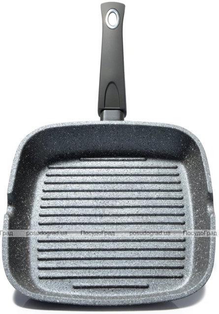 """Сковорода-гриль Fissman Grey Stone 24х24см с антипригарным покрытием """"Platinum"""""""