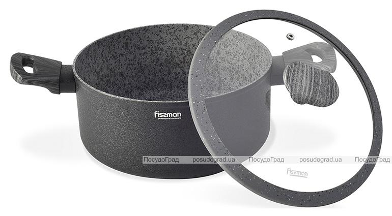 Кастрюля Fissman Charm Stone 2.7л со стеклянной крышкой, антипригарное покрытие
