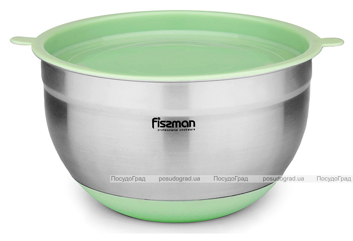 Миска Fissman MIRABELLE 3л из нержавеющей стали с салатовой пластиковой крышкой