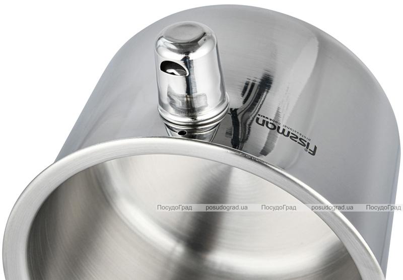 Ковш Fissman с двойными стенками 1.1л для водяной бани, со свистком (молоковарка)