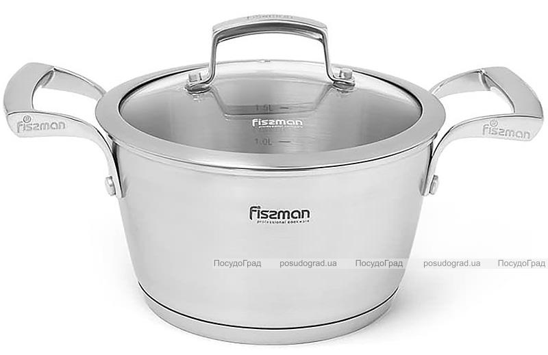 Каструля Fissman Millenium 2.1л з нержавіючої сталі зі скляною кришкою