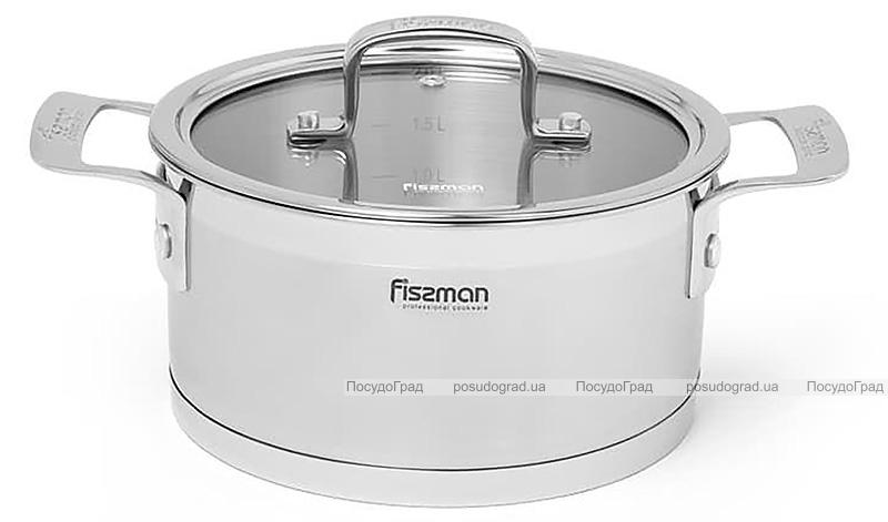 Каструля Fissman Fobus 2.2л з нержавіючої сталі зі скляною кришкою