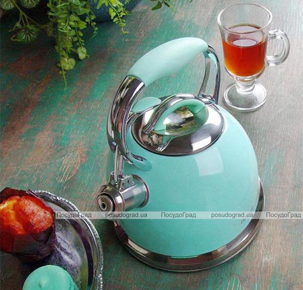 Чайник Fissman Felicity 2.6л из нержавеющей стали, со свистком, аквамарин