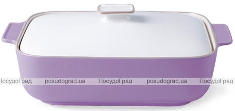Форма для запекания Fissman Margaret керамическая, 36х22х7см с крышкой, сиреневая