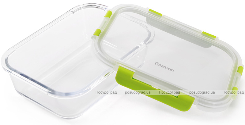 Контейнер для продуктів Fissman Purity 1000мл скляний, 21х15.5х6.5см
