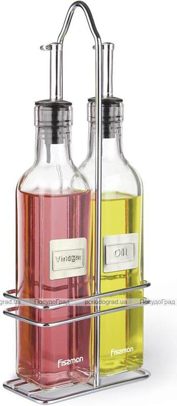 Набір 2 скляні пляшки Fissman для масла і оцту 2х250мл на металевій підставці