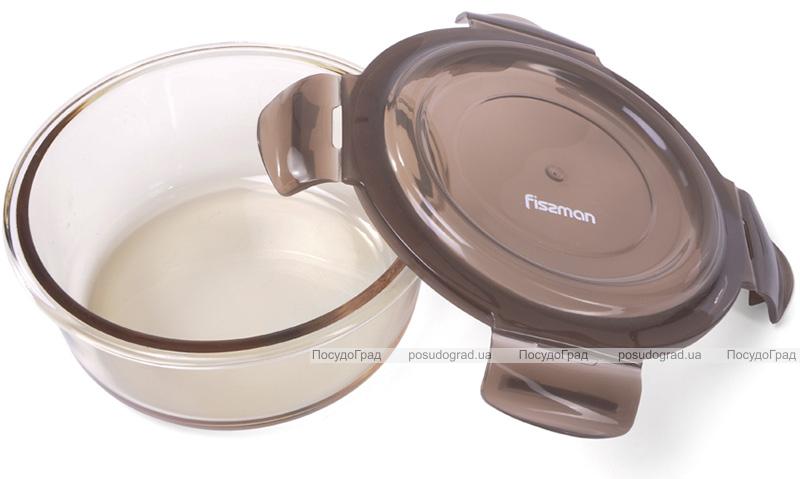 Контейнер для продуктів Fissman Luxor 400мл скляний, 14х7.5см круглий