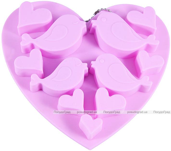 Форма силіконова для льоду і цукерок Fissman Закохані Пташки, 15х14.5см