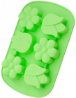 Форма для выпечки Fissman Цветочки силиконовая 26.5х17см, 6 ячеек, салатовая