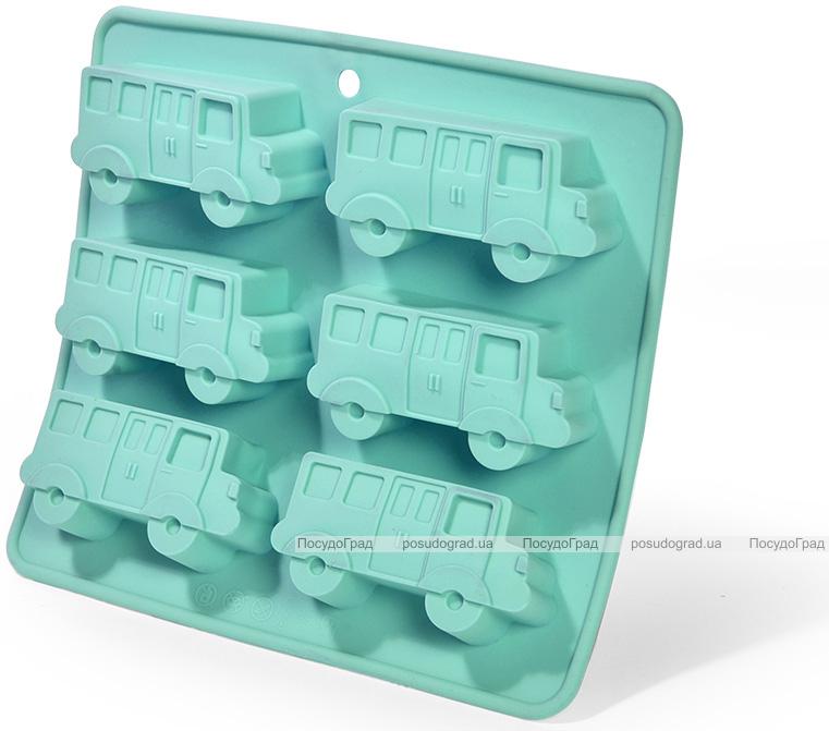 Форма для випічки Fissman Блакитний Автобус силіконова 22х20см, 6 осередків