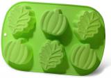 """Форма для випічки Fissman """"Яблуко, листочок"""" силіконова 25х16.8см, 6 осередків"""
