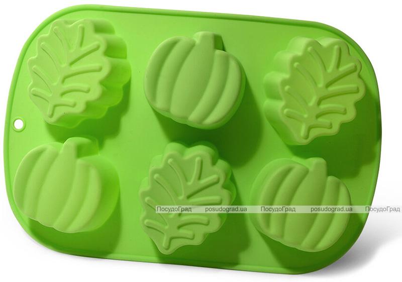 """Форма для выпечки Fissman """"Яблоко, листочек"""" силиконовая 25х16.8см, 6 ячеек"""