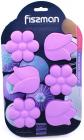 Форма для выпечки Fissman Цветочки силиконовая 26.5х17см, 6 ячеек, сиреневая