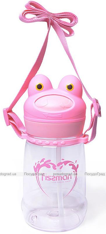 """Пляшка дитяча Fissman """"Жабка"""" 480мл з трубочкою, пластик"""