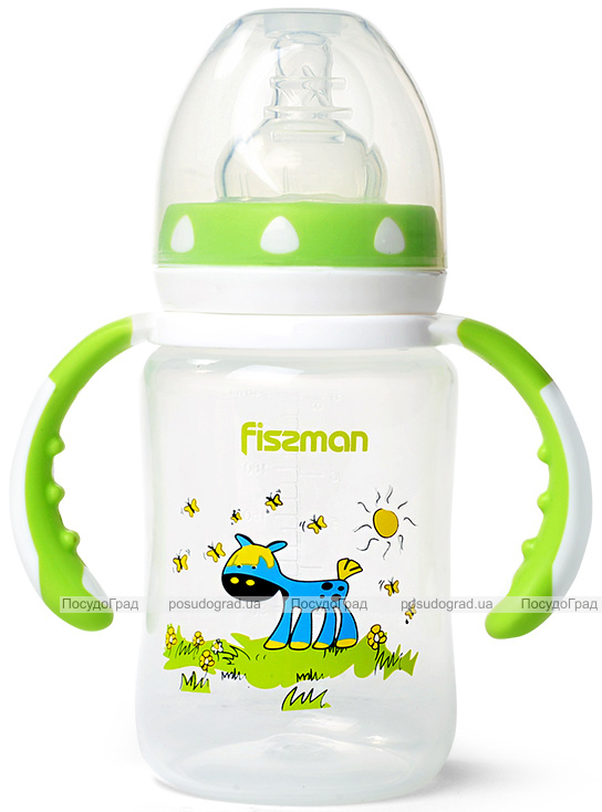 """Бутылочка детская для кормления Fissman Babies """"Ослик на лужайке"""" 240мл с ручками"""