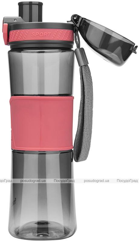 Пляшка спортивна Fissman Pink 520мл пластикова, чорна з рожевим