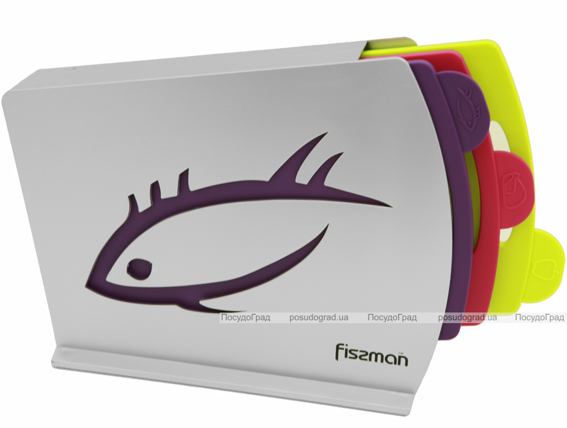 Набор 3 разделочные доски Fissman 33х25см на наклонной подставке
