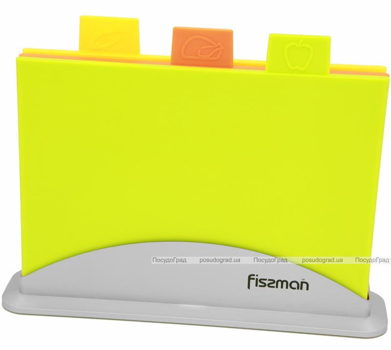 Набор 3 разделочные доски Fissman 32х25см на подставке