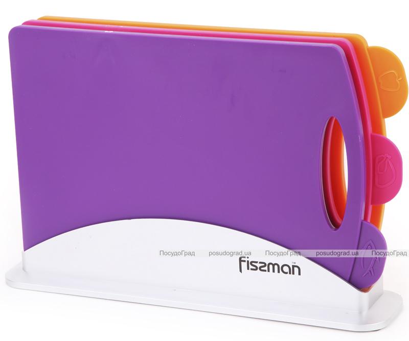 Набор 3 разделочные доски Fissman 33х22см на горизонтальной подставке