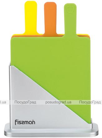Набор 3 разделочные доски Fissman 27х33см на подставке