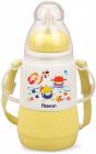 """Пляшка дитяча для годування Fissman Babies """"Кумедне купання"""" 150мл з ремінцем, жовта"""