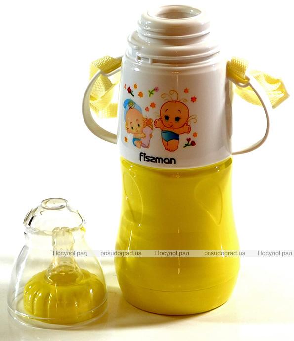 """Бутылочка детская для кормления Fissman Babies """"Малыши"""" 230мл с ремешком, желтая"""
