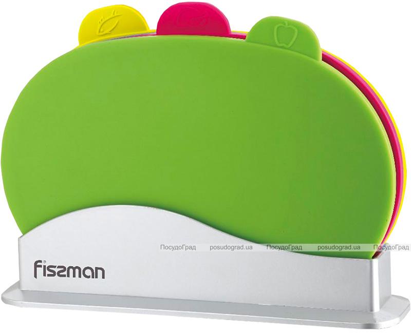 Набор 3 овальные разделочные доски Fissman 29х22см на подставке