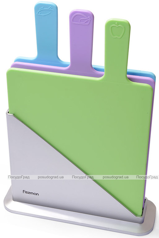 Набор 3 разделочные доски Fissman 32х19см на подставке