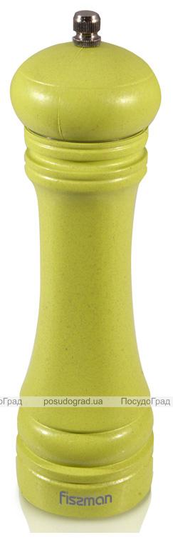 Мельница для специй (перцемолка) Fissman Spice 20х6см, бамбуковый салатовый корпус