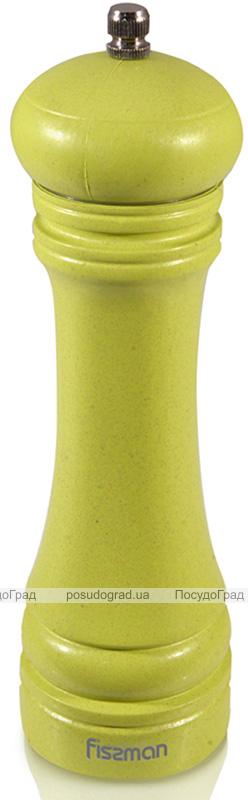 Мельница для специй (перцемолка) Fissman Spice 25х6см, бамбуковый салатовый корпус
