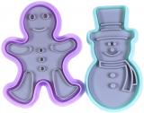 Набір для вирубки печива Fissman, форма-штамп Сніговик і Пряниковий Чоловічок