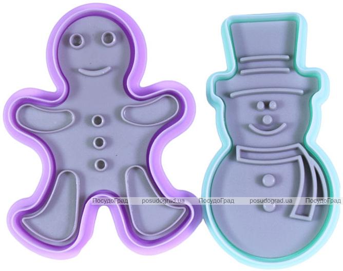 Набор для вырубки печенья Fissman, форма-штамп Снеговик и Пряничный Человечек