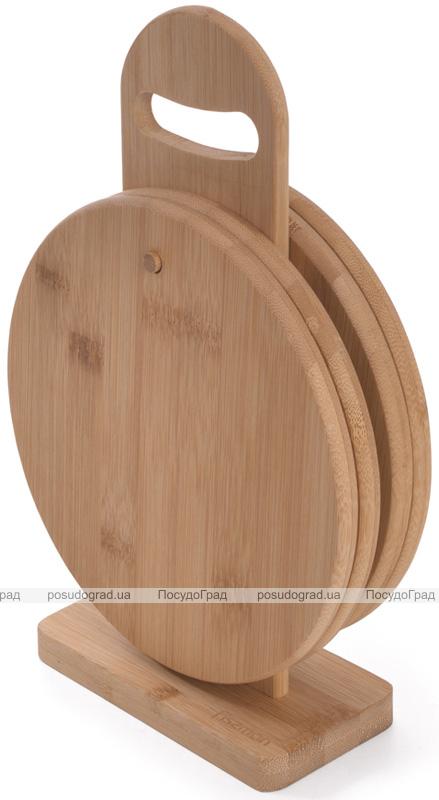 Набір 4 дошки Fissman Ø20см, бамбукові на підставці