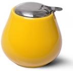 Цукорниця керамічна Fissman ProfiTea 600мл з відкидною кришкою, коричнева, жовта