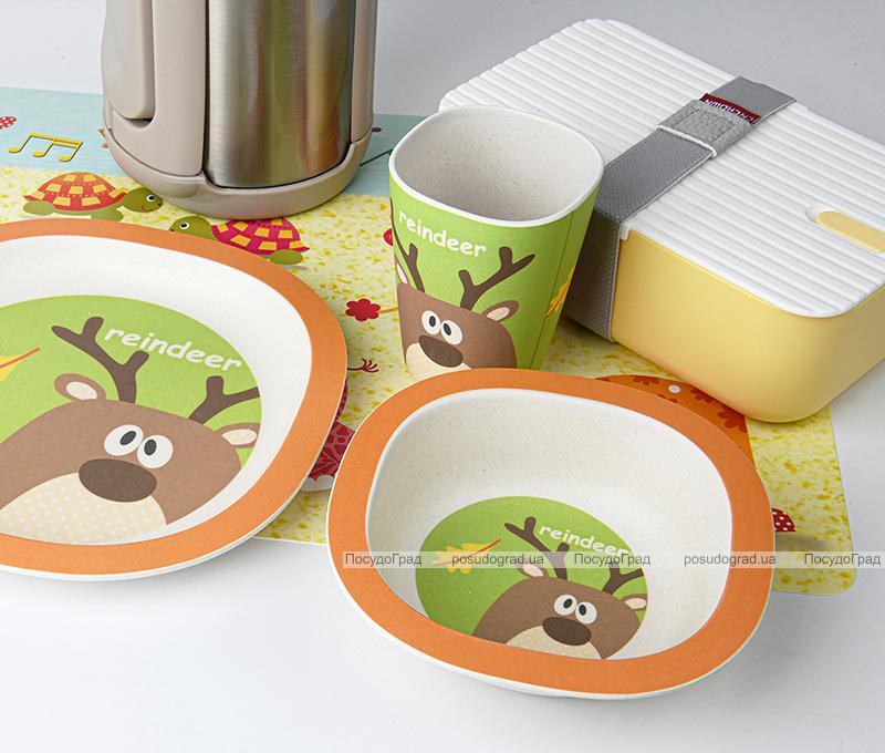 """Набір дитячий 3 предмета Fissman """"Оленя"""", тарілка, піала і стакан, бамбукове волокно"""