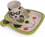 """Набір дитячий 3 предмета Fissman """"Панда"""", тарілка, піала і стакан, бамбукове волокно"""